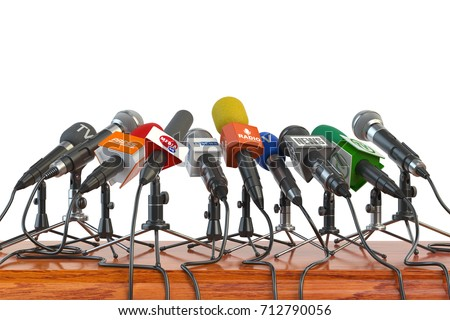 Microphones of different mass media, radio, tv and press prepared for conference meeting. Press conference or interview concept. 3d illustration