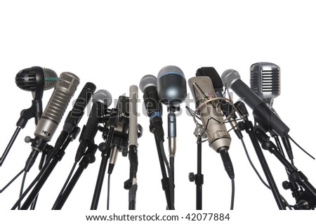 Microphones of various styles isolated over white background
