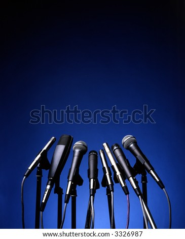 microphones on blue background
