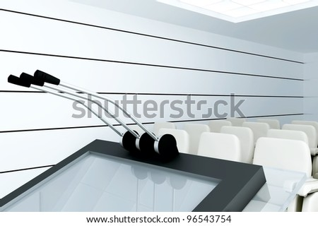 Microphones On Stand In Modern Conference Room Stock Photo ...