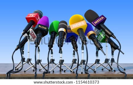 Microphones, press conference or interview concept on the wooden table. 3D rendering