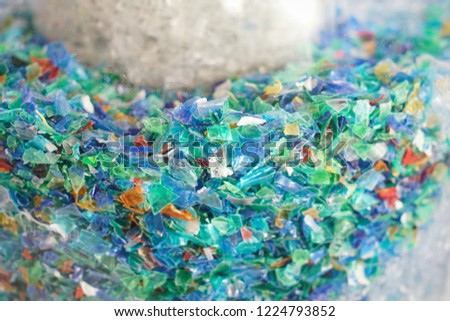 Microplastics in a glass container