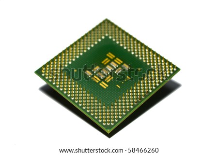 Microprocessor isolated on white background