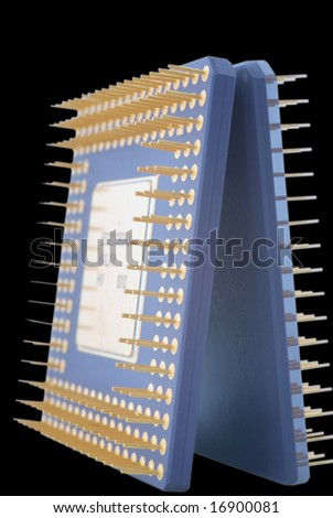 Microprocessors isolated on black background.