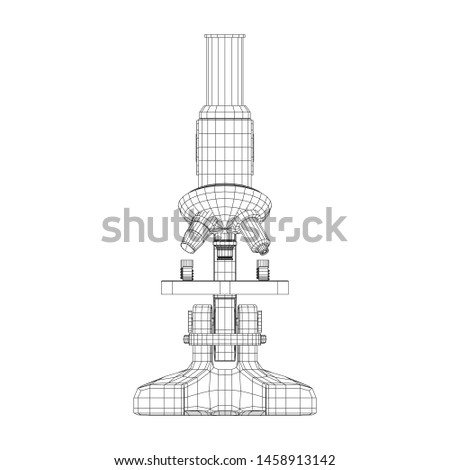 Microscope Biology School Laboratory Equipment. Science Education Symbol. Wireframe low poly mesh illustration 3d render