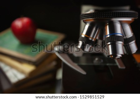 Microscope for science research at school, the study of biology and chemistry. Experiences and experiments for education.