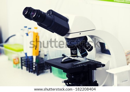 Microscopes in a lab.