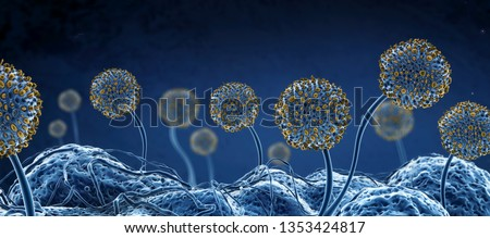 Microscopic image of growing molds or mold fungus and spores - 3d illustration
