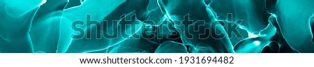 Microscopic Watercolor. Original Splash With Fluid Effect. Blue Aquarelle Universe. Abstract Pattern. Close Up Human Body Render. Turquoise Microscopy Artwork. Black Microscopic Watercolor. Stock photo ©