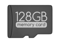 MicroSD memory card. 128 GB. Top view. Isolated on white.