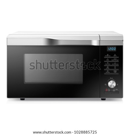 Microwave Oven Isolated on a White Background. Front View of Stainless Steel Over-the-Range Microwave Oven. Kitchen Appliances. Household Appliances. Domestic Appliances #1028885725