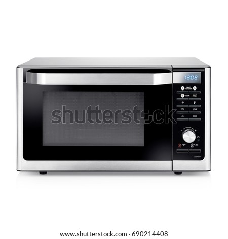 Microwave Oven Isolated on a White Background. Front View of Stainless Steel Over-the-Range Microwave Oven. Kitchen Appliances. Household Appliances. Clipping Path #690214408