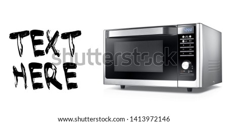 Microwave Oven Isolated on White Background. Black and Stainless Steel Over-the-Range Microwave Oven Side View. Kitchen Small Electric Appliances. Domestic Household Appliance #1413972146