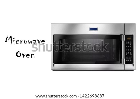 Microwave Oven Isolated on White Background. Kitchen Small Electric Appliances. Domestic Appliance. Modern Stainless Steel Over-The-Range Microwave Oven with Control Lockout Option Front View #1422698687