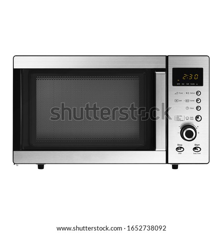 Microwave Oven Isolated on White Background. Stainless Steel Over-The-Range Microwave Grill 23L  800W with Control Lockout Option. Domestic Electric Kitchen Small Appliances Front View