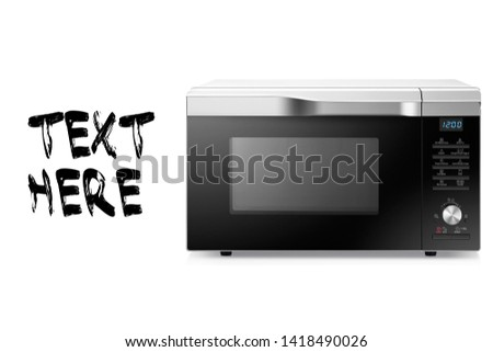 Microwave Oven Isolated on White Background. Stainless Steel Over-the-Range Microwave Oven Front View. Kitchen Domestic Appliance. Household Electric Small Appliances #1418490026