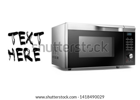 Microwave Oven Isolated on White Background. Stainless Steel Over-the-Range Microwave Oven Side View. Kitchen Domestic Appliance. Household Electric Small Appliances #1418490029