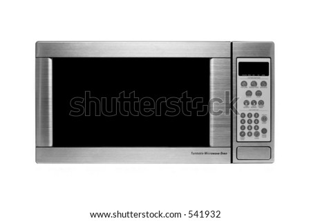 microwave oven oven shot over white, modern stainless steel design