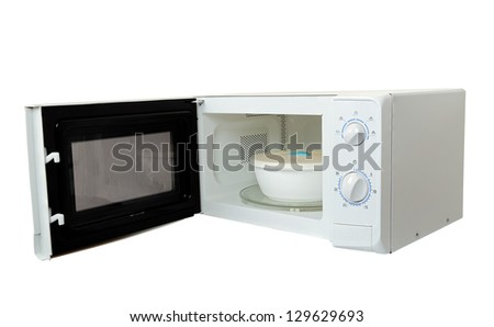 microwave oven with bowl isolated