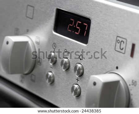 Microwave stove control close-up