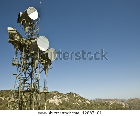 Microwave telecommunications tower at the top of a mountain.