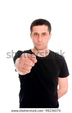 mid adult man shows a hand something isolated on white background