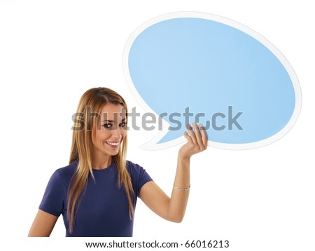mid adult woman holding blank speech bubble on white background. Horizontal shape, front view, waist up, copy space