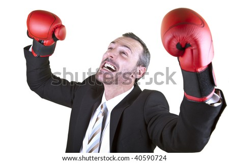 He wears boxing gloves.