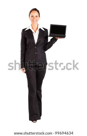 mid age businesswoman presenting laptop on white