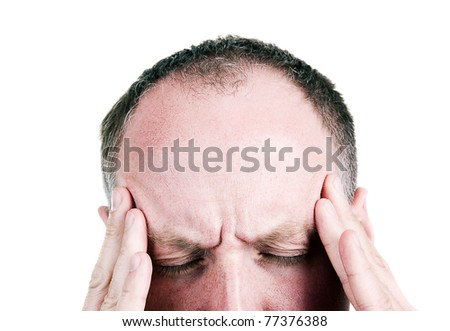 Mid aged man with headache