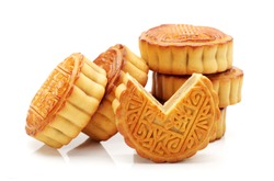 Mid-Autumn Festival moon cake on white background