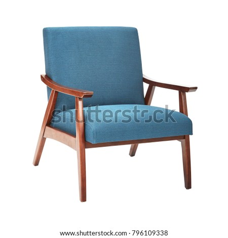 Mid Century Modern Chair Isolated on White Background. Modern Arm Chair with Wood Armrests. Wooden Lounge Chair. Side View of Upholstered Living Room Armchair with Solid Wood Frame Construction #796109338