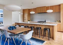 Mid-century modern kitchen with custom wood cabinets. Portland, Oregon