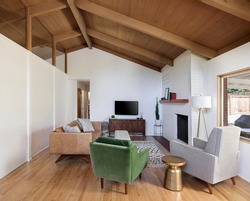 Mid-century modern living room. Located in Portland, Oregon