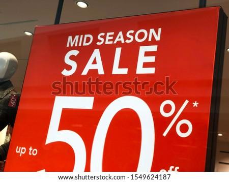 Mid season sales. 50% sales off. Sales concept.  #1549624187