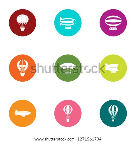 Midair icons set. Flat set of 9 midair icons for web isolated on white background