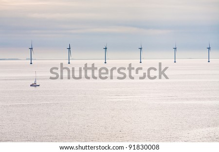 Middelgrunden - offshore wind farm near Copenhagen, Denmark at early morning