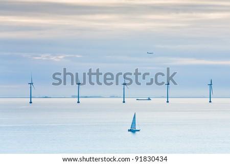Middelgrunden - offshore wind farm near Copenhagen, Denmark at early morning