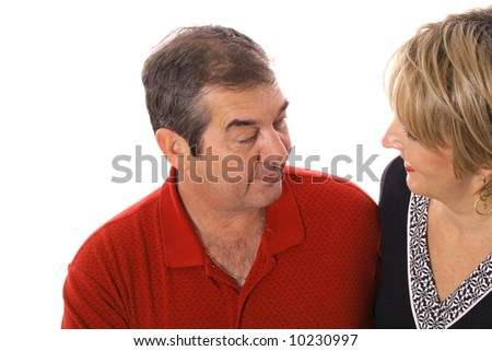 middle age couple talking