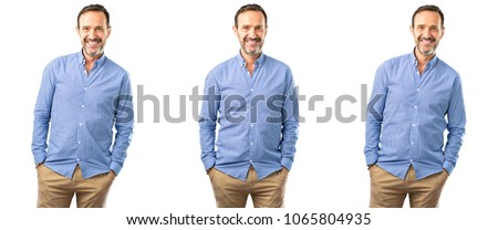 Middle age handsome man confident and happy with a big natural smile looking at camera over white background