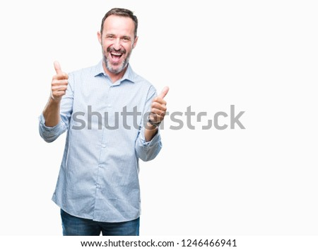 Middle age hoary senior business man over isolated background success sign doing positive gesture with hand, thumbs up smiling and happy. Looking at the camera with cheerful expression, winner gesture