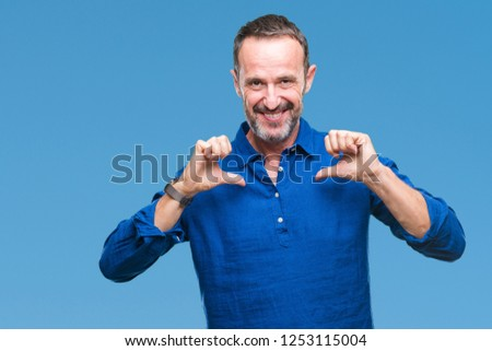 Middle age hoary senior man over isolated background looking confident with smile on face, pointing oneself with fingers proud and happy.