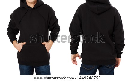 Middle age man in black sweatshirt template isolated. Male sweatshirts set with mockup and copy space. Sweat shirt design front and back view. Closeup