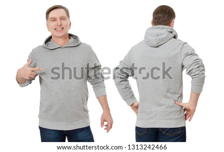 Middle age man in gray sweatshirt template isolated. Male sweatshirts set with mockup and copy space. Sweat shirt design front and back view.