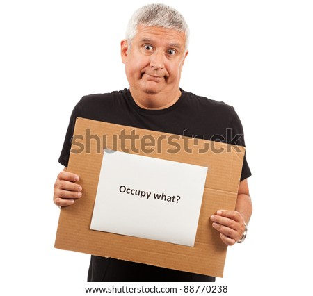 Middle age man with Occupy sign - stock photo
