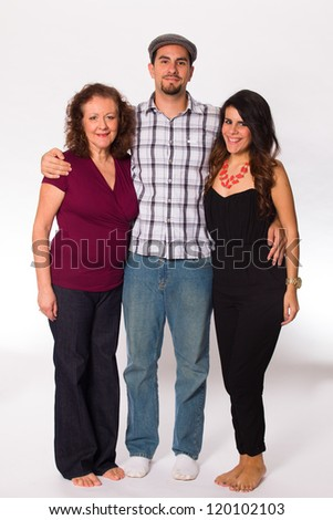 Middle age mother with her son and daughter on a white background.