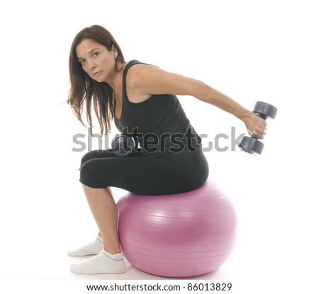 middle age woman fitness exercising strength training with