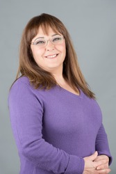 Middle age woman posing with glasses, xxl overweight