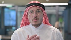 Middle Aged Arab Man Feeling Scared, Frightened