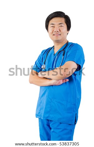 middle aged asian male doctor standing with arms crossed